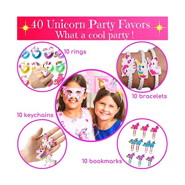 Unicorn Party Supplies 197 pc Set with Unicorn Themed Party Favors! Pink Unicorn Headband for Girls, Birthday Party… 4