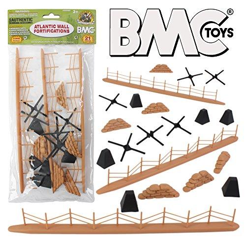 BMC WW2 Atlantic Wall Fortifications - 21pc Plastic Army Men Accessories ()
