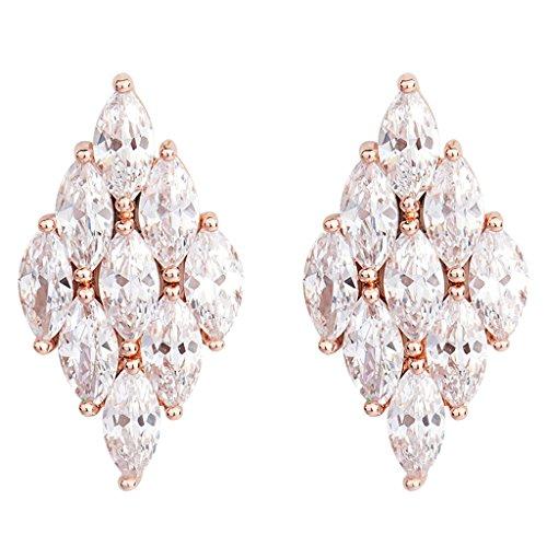 Jiayiqi Nouvelle Tendance Zircon Or Rose Couleur Goujon Boucles D'oreilles Losange Belle Diamant Oreille Clou Pour Femmes Filles Bijoux De mariage