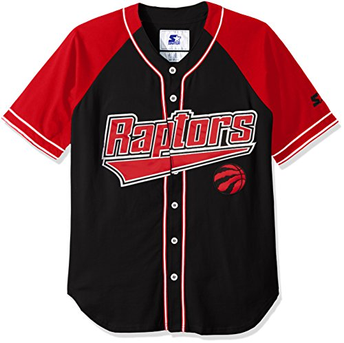 STARTER NBA Toronto Raptors Men's The Player Baseball Jersey, Medium, Black