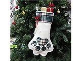 Gelaiken World Christmas Dog Paw Print Christmas Socks Packing Decoration Tree Ornament Bags(Blue)