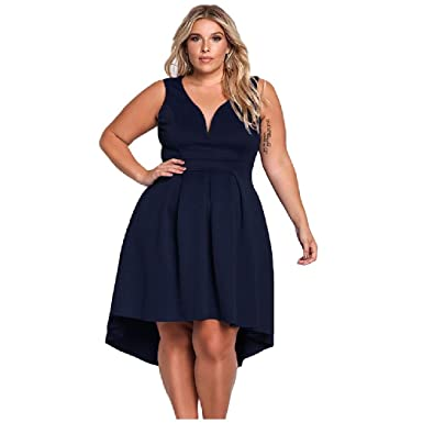 Amazon.com: CiGuru FAC003 Women Navy Blue Plus Size Casual Dress ...