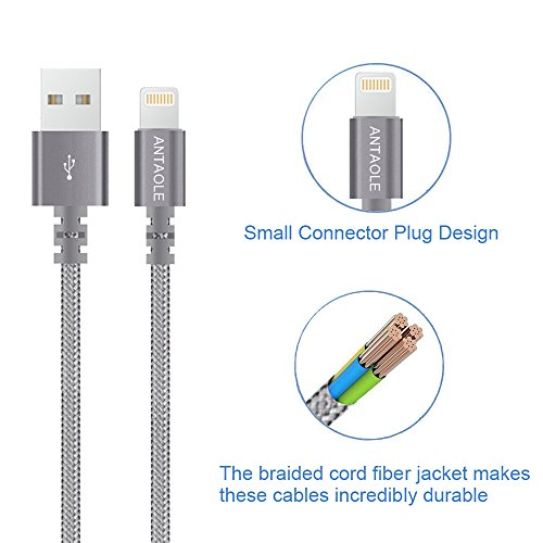 ANTAOLE Lightning Cable, Nylon Braided Charging Cord 2 Pack 6ft Data Sync iPhone Charger Foldable Dual Port Charger Compatible iPhone/iPad/iPod by ANTAOLE (Image #6)