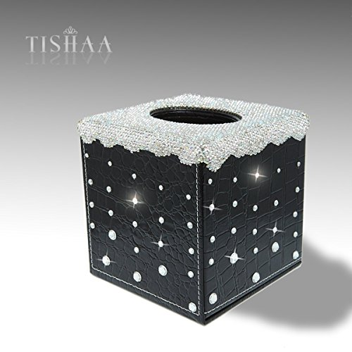 Diamond Fancy Drop - TISHAA Bling Bling Silver Dazzling Crystal Diamond Fancy Handmade Tissue Box/Holder with Alligator PU Leather for Desk or Table (Square(4' x 3' x 3'), A-Black Teardrop)