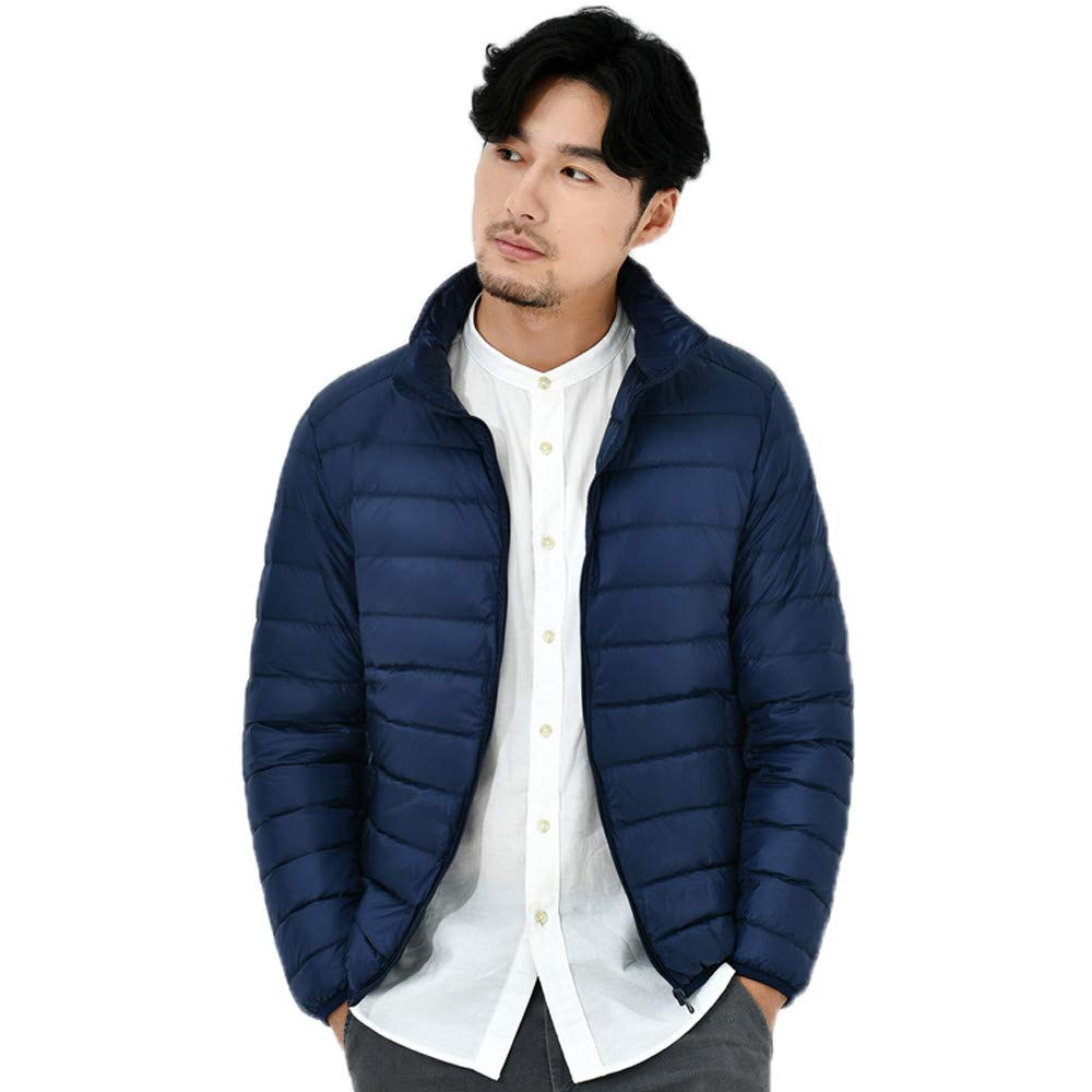 Pea Coat Men Slim Fit Double Breasted Mens Solid Stand Collar Down Jacket Zipper Warm Windproof Outwear Winter Coats