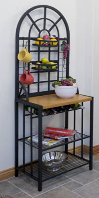 Nice Steel Bakers Rack Wine Display Dining Bar Storage Shelves Kitchen Dome Black