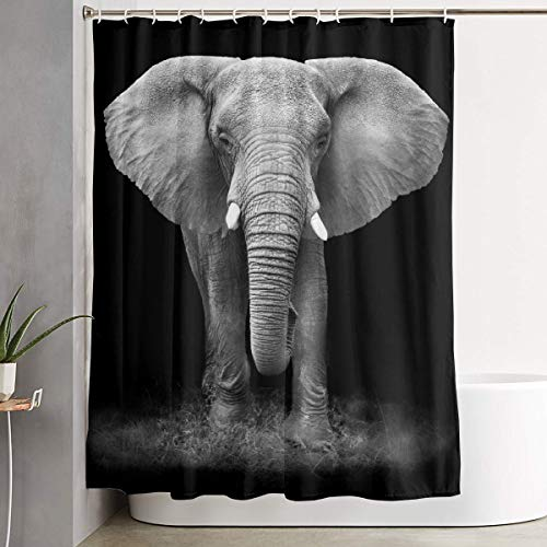 - JTny-Art Black And White Glass Splashback Elephant Shower Curtain With Hooks Waterproof Decorative Bathroom Great For Showers & Bathtubs Large Size 60