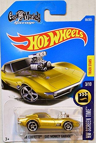 Hot Wheels 2017 Hw Screen Time '68 Corvette Gas Monkey Garage 99/365, Gold, 1:64 Scale, Multi (Value Of Hot Wheels Treasure Hunt Cars)