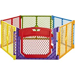 """Superyard Colorplay Ultimate"" 6-Panel Play Yard by North States: Create a safe play area anywhere. Includes carrying strap. Freestanding. 192"" length, 18.5 sq. ft. enclosure (26"" tall, Multicolor)"