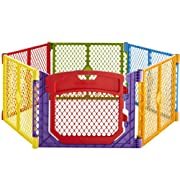 Superyard Colorplay Ultimate  6-Panel Play Yard by North States: Create a safe play area anywhere. Includes carrying strap. Freestanding. 192  length, 18.5 sq. ft. enclosure (26  tall, Multicolor)