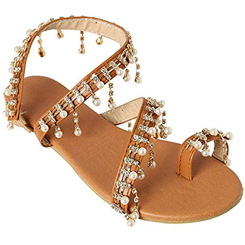 Athlefit Women's Beaded Flat Sandals Pearl Beach Toe Ring Casual Bohemia Summer Sandals Size 6 Gold