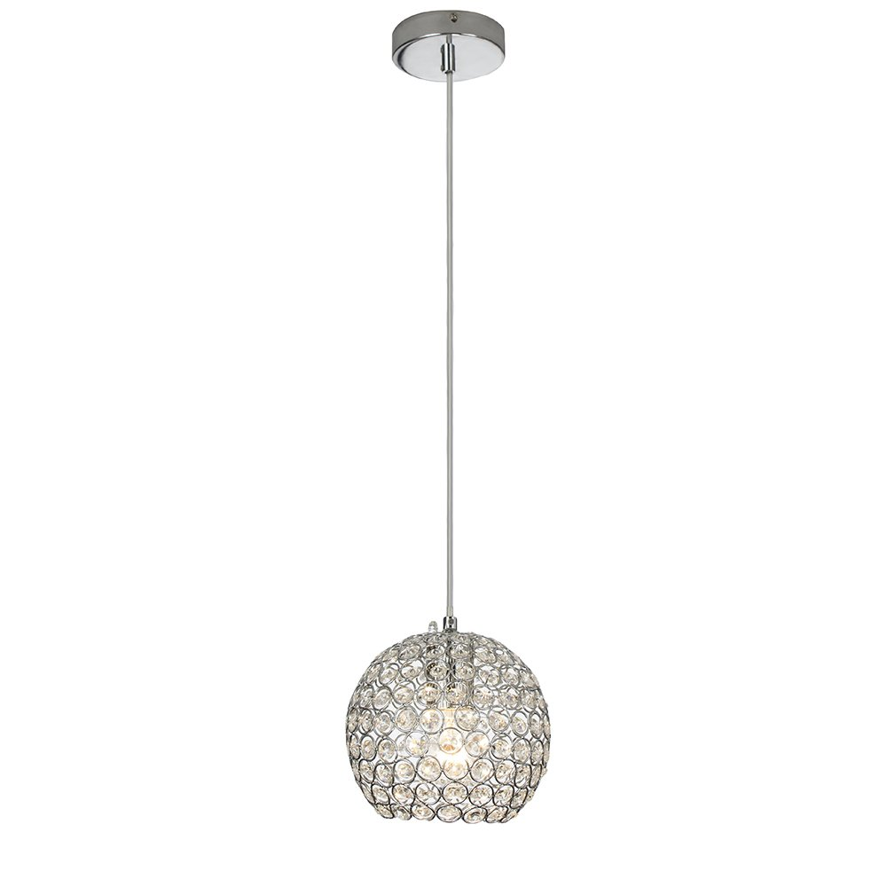 Glanzhaus Modern Style Chrome Finish Ceiling Lighting Fixture 70.2'' Cord Adjustable Crystal Pendant Light, Hanging Light with Crystal Lampshade for Bar Kitchen and Living Room.