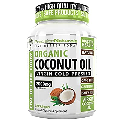 Organic Coconut Oil Capsules Pills 2000mg/Serving Virgin Cold Pressed Non GMO for Weight Loss, Extra Hair Growth and Healthy Skin Unrefined Pure Coconut Oil Source of MCFA 60 Servings