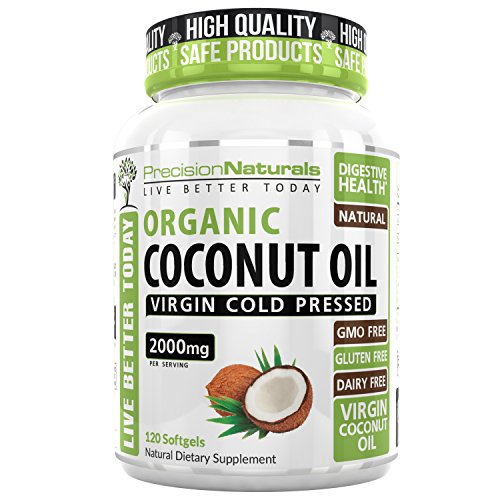Precision Naturals Organic Coconut Oil Capsules 2000mg 120 Count (Best Coconut Oil Capsules)