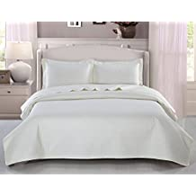 Plaid Ultrasonic Coverlet/ Bed Spread King Size,Cream