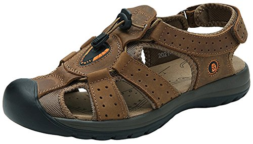 AGOWOO Womens Fisherman Sandals Outdoor Beach Hiking Sandles Shallow_brown IyGo9L07L