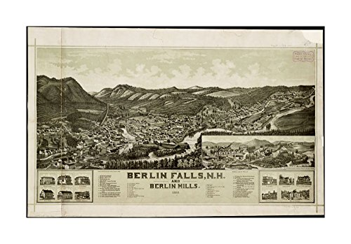 1888 Map Berlin Berlin Falls, N.H., & Berlin Mills: 1888 Bird's-eye view.Includes index to points of interest, inset, & ill.of houses.Coos New Hampshire|Ready to Frame|Historic Antique (Antique Berlin)
