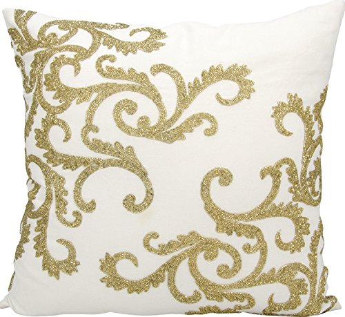 Beaded Decorative Pillow - Mina Victory by Nourison E0943 Beaded Corner Scroll Decorative Pillow, 20