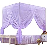 Nattey 4 Corners Princess Bedding Curtain Canopy Mosquito Netting Canopies Twin Full Queen California King Pink Yellow White Purple Colors! (Twin, Purple)