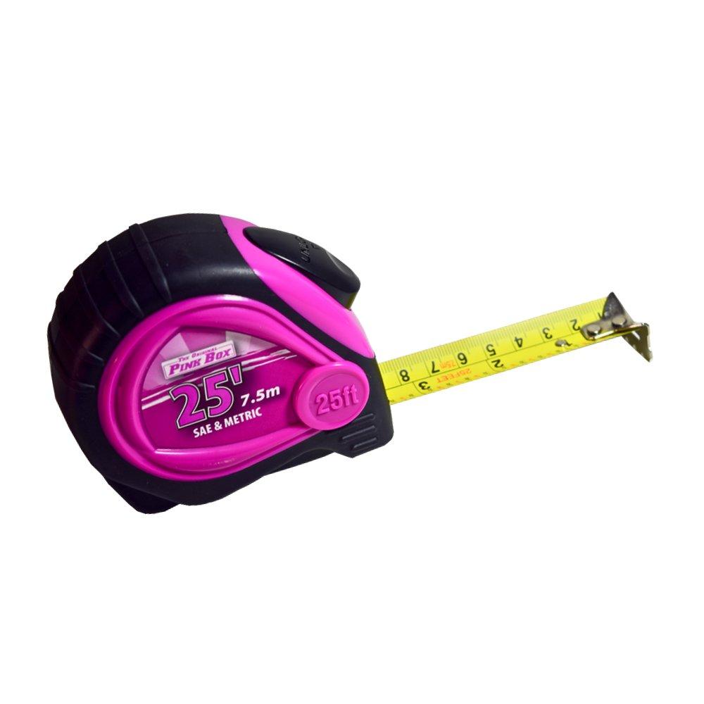 The Original Pink Box PB25LTM Auto Locking Tape Measure Pink 25Ft