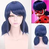 Miraculous Ladybug H Marinette Lady Bug Girl Cosplay Costume Double Ponytail Braids Perm Blue Hair