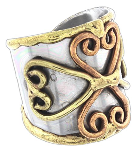 Anju Cuff Ring Welded Mixed Metal Design - Copper, Stainless Steel, Brass (4 Hearts) ()