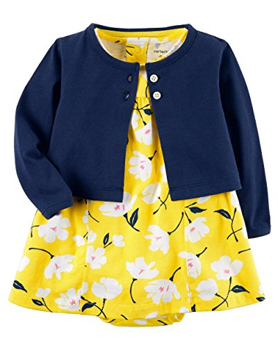 Carter's Baby Girls Dress Set, Navy/Yellow, 9M