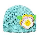 Dress Up Dreams Boutique Little Girls Turquoise Flower Beanie Crochet Hat 1-2 Years