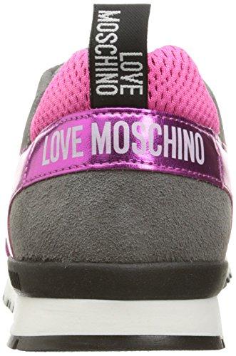 Love Moschino Women's Cut-Out Logo Running Shoe Fashion Sneaker, Fuchsia/Grey/Blue, 37 EU/7 M US by Love Moschino (Image #2)