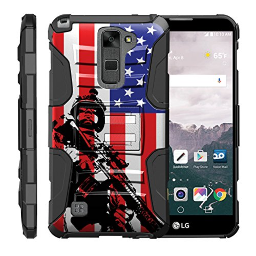 TurtleArmor | LG Stylus 2 Case | LG G Stylo 2 Case [Hyper Shock] Rugged Hybrid Hard Shell Kickstand Fit Holster Clip Military War Robot Android Design - American Soldier