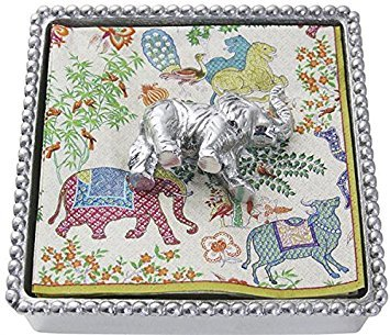 Beaded Elephant - MARIPOSA Elephant Beaded Napkin Box, Silver