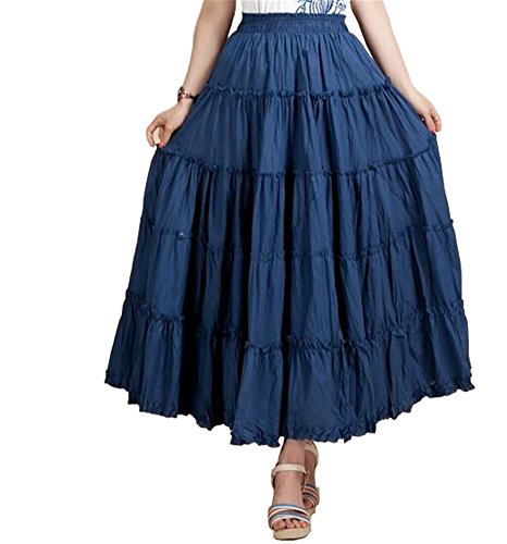 (CoutureBridal Womens Elastic Tiered Bohemia Long Circle Broomstick Peasant Skirts Dance Deinm Blue)