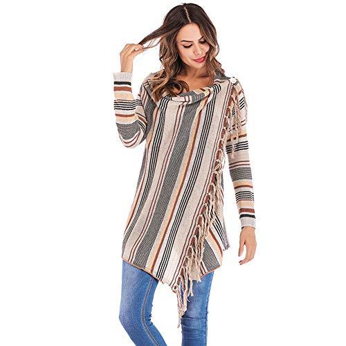 (Chaofanjiancai Womens Stripes Poncho Fall Tassels Slash Gradient Shawl Hem Fringe Loose Sweater)