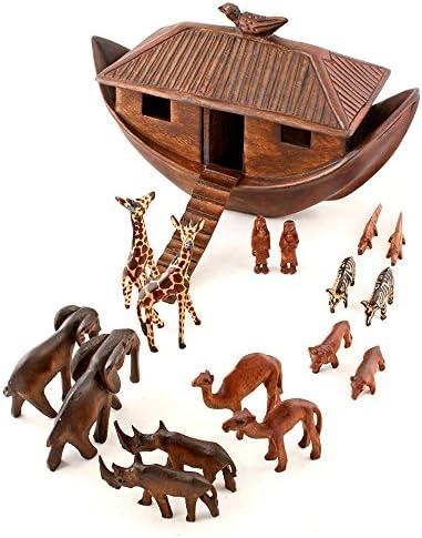 African Fair Trade Noah s Ark Hand Carved Jacaranda Wood Sculpture