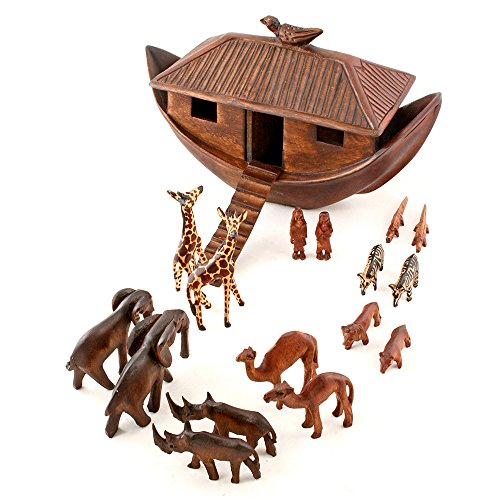 - African Fair Trade Noah's Ark Hand Carved Jacaranda Wood Sculpture