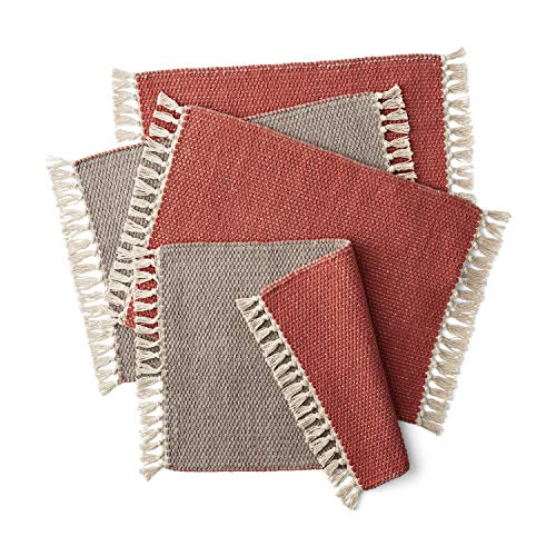 Better Homes & Gardens Double Weave Fringe Placemat, Clay Brick/Taupe Splash