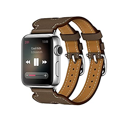 LoveBlue for Apple Watch Band Series 2 Series 1,Genuine Leather Band Double Buckle Cuff Bracelet Leather Watchband With Adapter for Apple iWatch(42mm,Double Buckle Coffe)