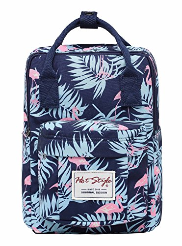Backpacking Diaper Bag Backpack Tropical Print for Girls - Flamingos Navy - Stylish Mini Tote