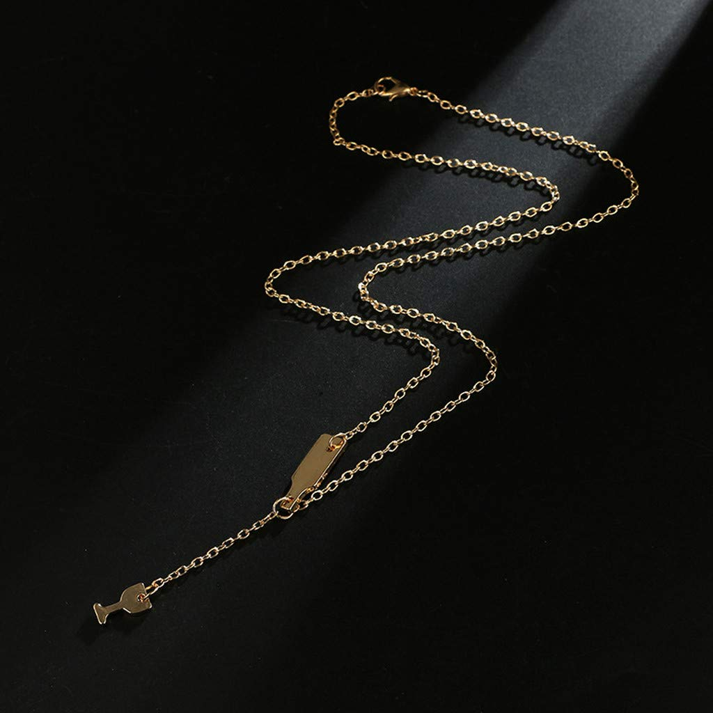 Women Wine Bottle Pendant Necklace Tassel Multilayer Necklace Elegant Long Sweater Lover Chain Jewelry Gold