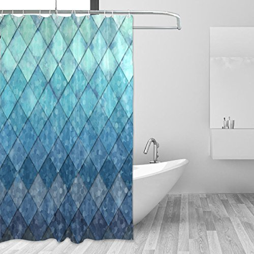 ZOEO Shower Curtain Backdrop Ocean Blue Teal Mermaid Fish Scales Geometric Rhombus Bathroom Home Decor Set Fabric Bridal Polyester Washable Waterproof 12 Hooks for Women 60x72 inch