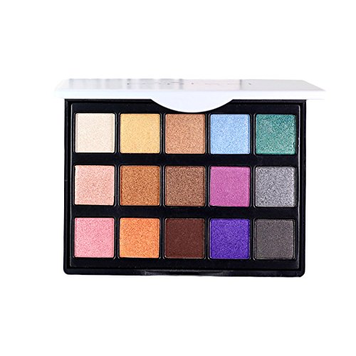 POPFEEL 15 Colors Eyeshadow Palette Ultra Pigmented Mineral Pressed Cosmetics Glitter Make Up Eye Shadow Powder Flash Colors Long Lasting Waterproof (E15 - 2)