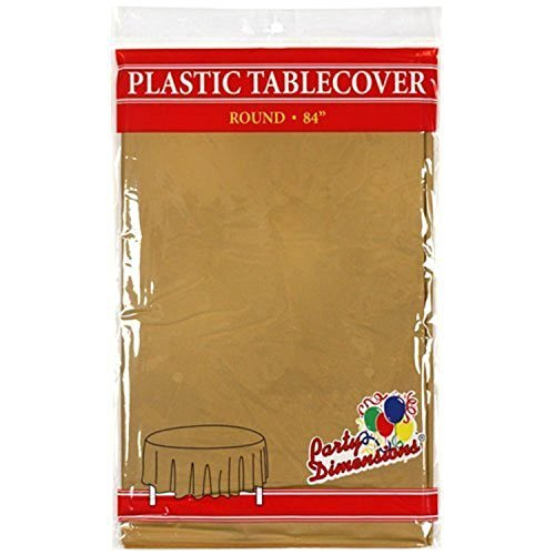 "Gold Round Plastic Tablecloth - 4 Pack - Premium Quality Disposable Party Table Covers for Parties and Events - 84"" - By Party Dimensions by Party Dimensions"