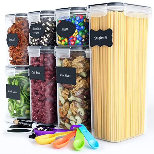 Chef's Path Airtight Food Storage Container Set - 7 PC - Kitchen & Pantry Organization Ideal for Flour, Sugar, Cereal & More - BPA-Free - Plastic Canisters with Durable Lids - Labels, Marker & Spoons