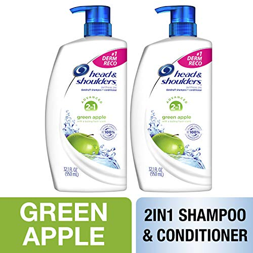 Head and Shoulders Shampoo and Conditioner 2 in 1, Anti Dandruff Treatment, Green Apple, 32.1 fl oz, Twin Pack - Shampoo 2in 1 Dandruff