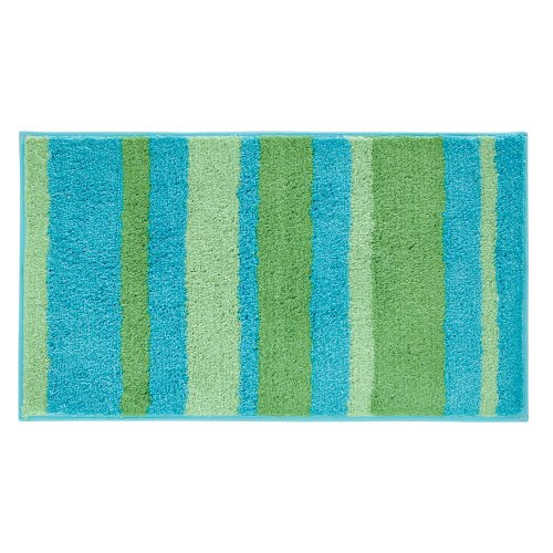 InterDesign Microfiber Stripz Bathroom Shower Accent Rug, 34 X 21, Blue/ Green