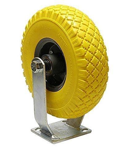HKB® 1 PIEZA PU Rueda de carretilla (con caballete rollo, diámetro=260, soporta hasta 130 kg, eje 20 mm de diámetro 75 mm de ancho, antipinchazos de ...
