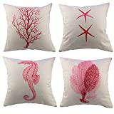 "Borlan Cotton Linen Throw Pillow Case Ocean Park Theme Decorative Cushion Cover Case 18"" X 18"" for Sofa Set of 4 (Red)"