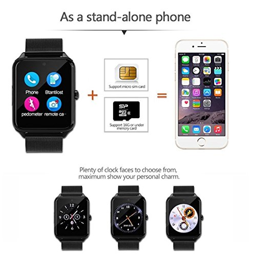 Bluetooth Smart Watch DOROIM Stainless Steel Strap, Camera, Call SMS Reminder, Sleep Monitor, Pedometer, Support SIM TF Card for Android iPhone Men Women Boys Girls by DOROIM (Image #2)