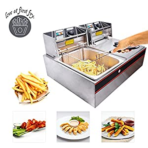 Koval Inc. Stainless Steel Commercial Electric Deep Fat Fryer with Basket (12L, Silver Double Tank)