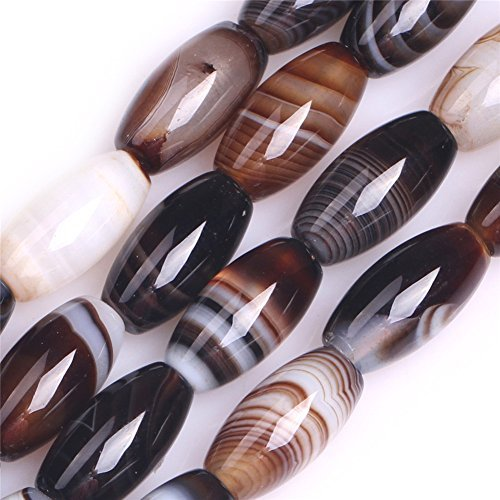 - Oval Rice Botswana Agate Semi Precious Gemstone Beads for Jewelry Making 15'' (8x16mm)
